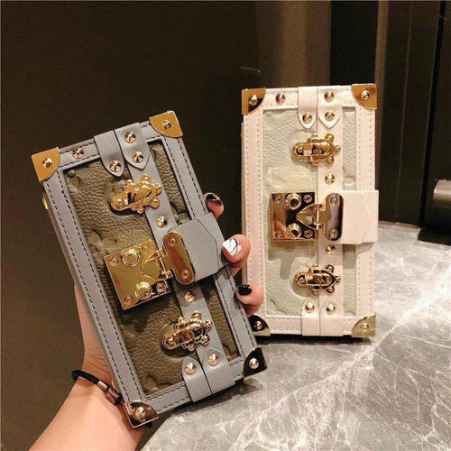Box Luxury Leather 100% Handmade Gold Metal Lock Card Holder Wallet Bumper Classic Designer iPhone Case For iPhone 12 SE 11 PRO MAX X XS XS Max XR - Casememe.com