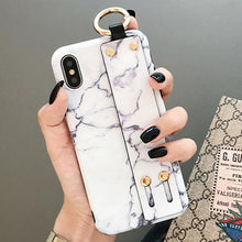 Load image into Gallery viewer, Modern Hand Strap Marble Painted Designer Bumper iPhone Case for iPhone SE 11 PRO MAX XS Max XR X 7 8 Plus - Casememe.com