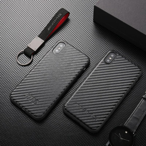 Carbon fibers Super Car AMG BMW M Shockproof Bumper Case with Lanyard and Keychain for iPhone 7 7plus 8 8plus X XR XS Max - Casememe.com