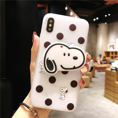 Cute Snoopy 3D Airbag Protective Silicone iPhone Case With Finger Holder For iPhone X / XS / XS Max / XR - Casememe.com