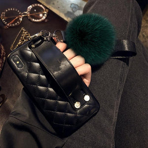 Luxury CC Style Grid Soft Leather Bumper Designer iPhone Case With Wristband Bracket Fur Ball For iPhone X XS XS Max XR - Casememe.com