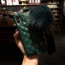 Load image into Gallery viewer, Luxury CC Style Grid Soft Leather Bumper Designer iPhone Case With Wristband Bracket Fur Ball For iPhone X XS XS Max XR - Casememe.com