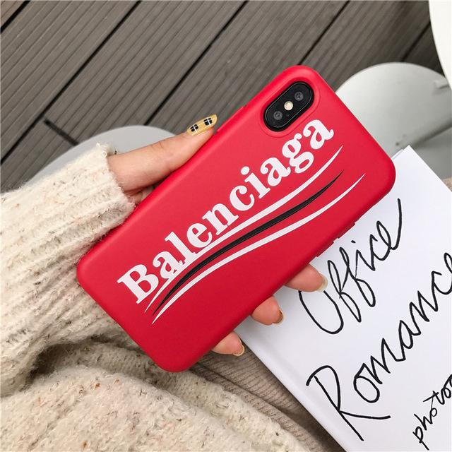 Balenciaga Stylish Sports Soft Silicone Curved Logo iPhone Case For iPhone 12 SE 11 PRO MAX X / XS / XS Max / XR - Casememe.com
