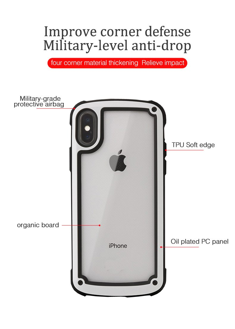 uk availability 67d45 f599a Military Standard Transparent Clear Ultimate Shockproof Airbag Corners  Bumper Frame Case For iPhone X XS Max XR 8 7 Plus