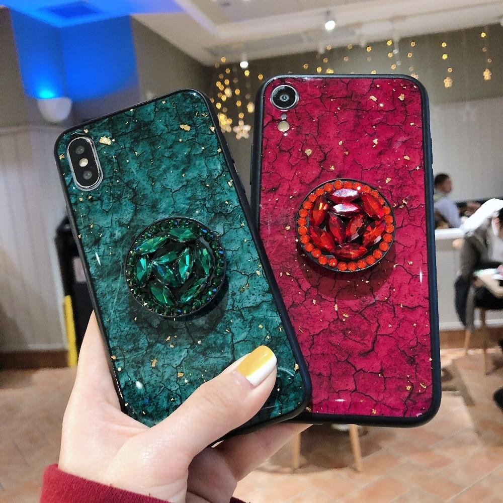 sneakers for cheap 98ba8 2f98e Luxury Marble Tempered Glass Shockproof Diamond Pop Socket Designer iPhone  Case With Furry Ball For iPhone X XS XS Max XR