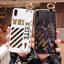 Load image into Gallery viewer, Luxury Off White OW Style Golden Strip Leather Kickstand Designer iPhone Case With Wristband Hand Strap For iPhone SE 11 PRO MAX X XS XS Max XR - Casememe.com