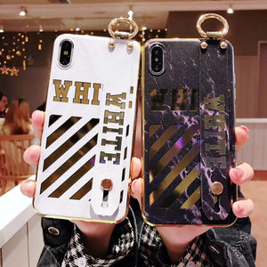 Luxury Off White OW Style Golden Strip Leather Kickstand Designer iPhone Case With Wristband Hand Strap For iPhone X XS XS Max XR - Casememe.com