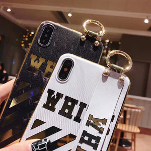 Luxury Off White OW Style Golden Strip Leather Kickstand Designer iPhone Case With Wristband Hand Strap For iPhone SE 11 PRO MAX X XS XS Max XR - Casememe.com