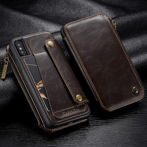 Zipper Pocket Credit Card Slots Detachable Kickstand Genuine Leather Wallet Shockproof Case for iPhone X XS MAX X XR 7 8 plus Case - Casememe.com