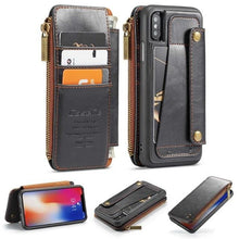 Load image into Gallery viewer, Zipper Pocket Credit Card Slots Detachable Kickstand Genuine Leather Wallet Shockproof Case for iPhone X XS MAX X XR 7 8 plus Case - Casememe.com