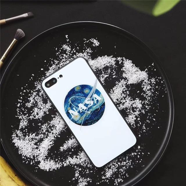 NASA Style America Space Astronaut Tempered Glass Shockproof Designer iPhone Case For iPhone X XS XR XS Max - Casememe.com