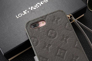Luxury LV Monogram Style PU Leather Wallet Shockproof Protective Designer iPhone Case For iPhone 12 SE 11 Pro Max X XS Max XR 7 8 Plus - Casememe.com