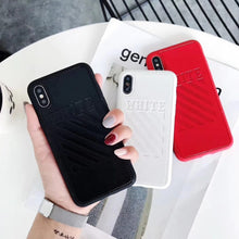 Load image into Gallery viewer, Off White OW Fashion Twill Stripes Leather Soft Silicone Sport Case For iPhone SE 11 PRO MAX X / XS / XS Max / XR - Casememe.com