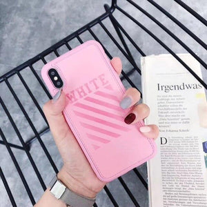 Off White OW Fashion Twill Stripes Leather Soft Silicone Sport Case For iPhone SE 11 PRO MAX X / XS / XS Max / XR - Casememe.com