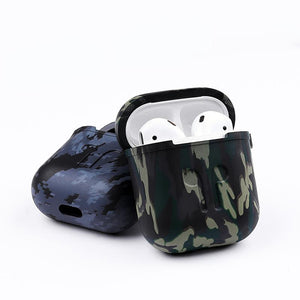 Camouflage AirPods Silicone TPU Protective Shockproof Case With Carabiner For Apple Airpods 1 & 2 - Casememe.com