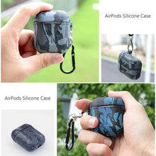 Load image into Gallery viewer, Camouflage AirPods Silicone TPU Protective Shockproof Case With Carabiner For Apple Airpods 1 & 2 - Casememe.com