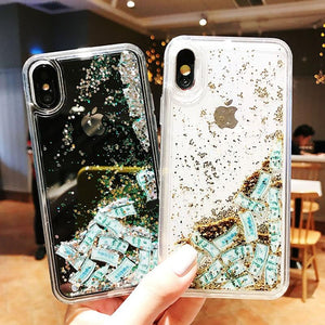 Luxury Fashion Dollar Rain Gold Dynamic Glitter Quicksand Silicone Designer iPhone Case For iPhone X XS XR XS Max - Casememe.com