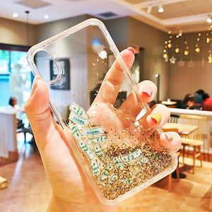 Luxury Fashion Dollar Rain Gold Dynamic Glitter Quicksand Silicone Designer iPhone Case For iPhone SE 11 PRO MAX X XS XR XS Max - Casememe.com