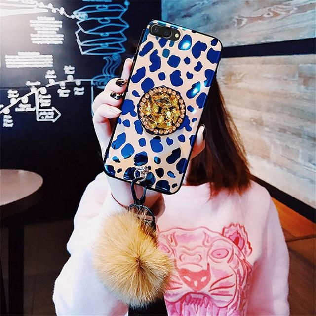Luxury Fashion Blue Ray Leopard Glossy Golden 3D Diamond Pop Socket Designer iPhone Case With Fur Ball For iPhone X XS XR XS Max - Casememe.com