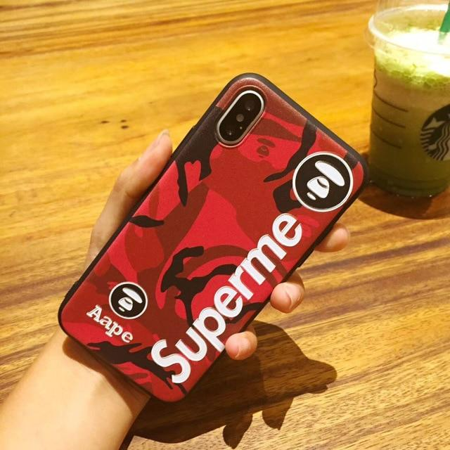 Luxury Supreme Style Red Camo Army Matte Silicone Designer iPhone Case For iPhone SE 11 PRO MAX X XS XS Max XR - Casememe.com
