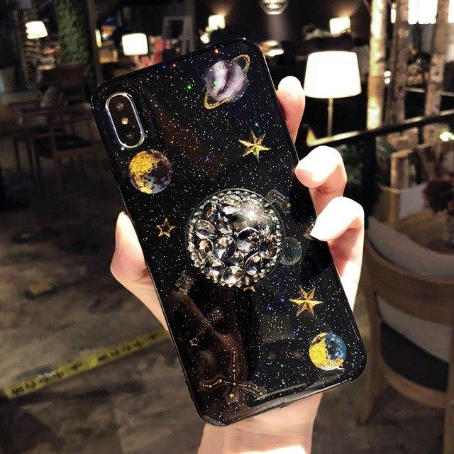 Luxury Glitter Cute Space Planet Universe Silicone Designer iPhone Case With Diamond Pop Socket For iPhone X XS XS Max XR - Casememe.com