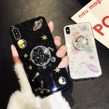Load image into Gallery viewer, Luxury Glitter Cute Space Planet Universe Silicone Designer iPhone Case With Diamond Pop Socket For iPhone X XS XS Max XR - Casememe.com