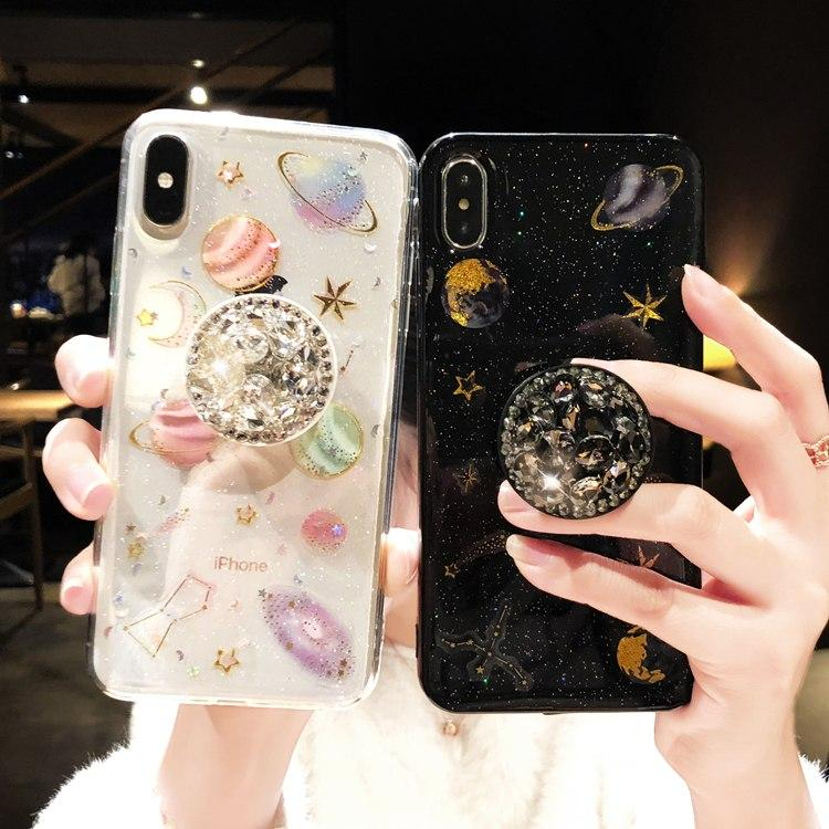 best service aa00f 8d18a Luxury Glitter Cute Space Planet Universe Silicone Designer iPhone Case  With Diamond Pop Socket For iPhone X XS XS Max XR