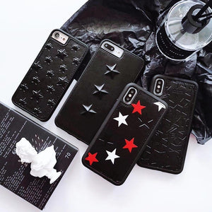 Luxury Givenchy Style Street Star Studs Black Leather Bumper Designer iPhone Case For iPhone SE 11 PRO MAX X XS XS Max XR - Casememe.com