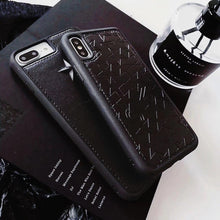 Load image into Gallery viewer, Luxury Givenchy Style Street Star Studs Black Leather Bumper Designer iPhone Case For iPhone SE 11 PRO MAX X XS XS Max XR - Casememe.com