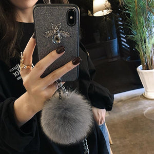 3D Luxury GC Style Diamond Bee Glitter Silicone Designer iPhone Case With Jewel Bracelet Fox Fur Ball For iPhone SE 11 PRO MAX X XS XS Max XR - Casememe.com