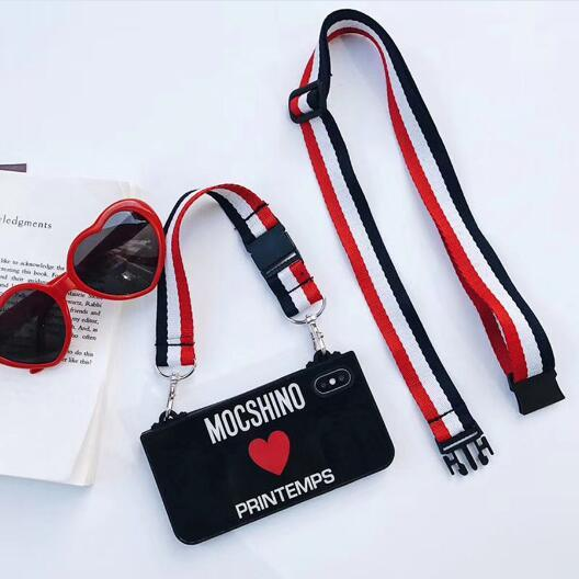 Moschino Style Tempered Glass Luxury Designer iPhone Case With Lanyard For iPhone X XS XS Max XR 7 8 Plus - Casememe.com