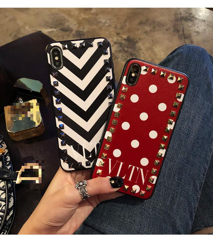 best sneakers fdc01 95120 Valentino Style VLTN Fashion Leather Studs Luxury Apple iPhone Case For  iPhone X XS XS Max XR 7 8 Plus