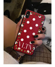 Load image into Gallery viewer, Valentino Style VLTN Fashion Leather Studs Luxury Apple iPhone Case For iPhone SE 11 PRO MAX X XS XS Max XR 7 8 Plus - Casememe.com