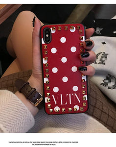 Valentino Style VLTN Fashion Leather Studs Luxury Apple iPhone Case For iPhone SE 11 PRO MAX X XS XS Max XR 7 8 Plus - Casememe.com