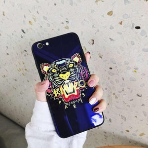 Kenzo Style Luxury Blue Ray Tempered Glass Ultra Slim Designer iPhone Case For iPhone X XS XS Max XR 7 8 Plus - Casememe.com