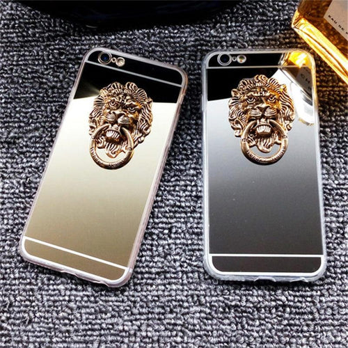 Luxury Mirror Lion Ring Holder Shiny Silicone TPU Designer iPhone Case For iPhone X XS XR XS Max - Casememe.com