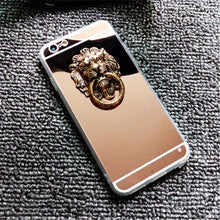 Load image into Gallery viewer, Luxury Mirror Lion Ring Holder Shiny Silicone TPU Designer iPhone Case For iPhone X XS XR XS Max - Casememe.com