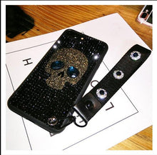 Load image into Gallery viewer, Luxury Diamond Full Rhinestone Skull 100% Handmade Silicone Designer iPhone Case With Lanyard For iPhone X XS XR XS Max - Casememe.com