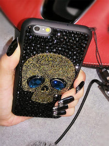 Luxury Diamond Full Rhinestone Skull 100% Handmade Silicone Designer iPhone Case With Lanyard For iPhone X XS XR XS Max - Casememe.com