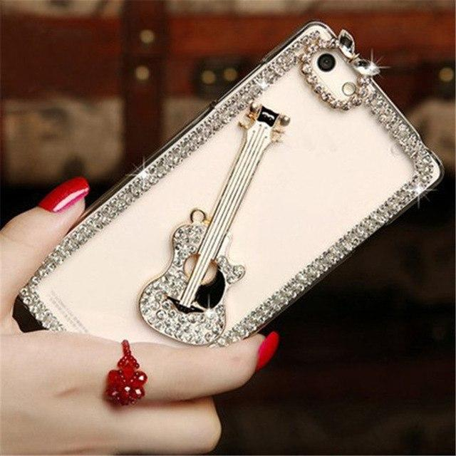 Luxury Diamond Rhinestone Guitar Silicone TPU Transparent Clear Designer iPhone Case For iPhone X XS XR XS Max - Casememe.com