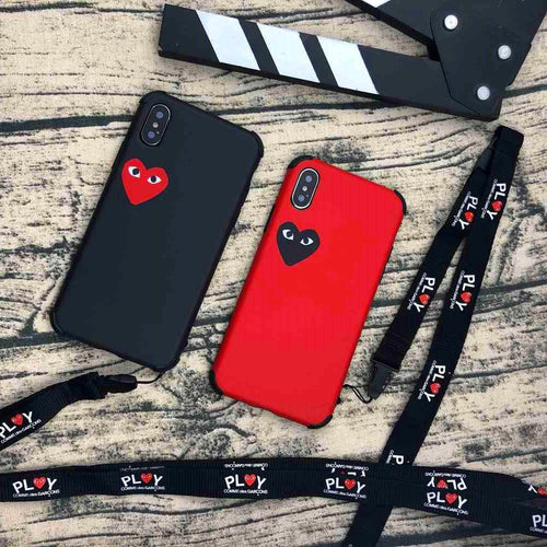Trendy PLAY CDG Comme des Garcons Style Heart Matte Silicone Designer iPhone Case With Lanyard For iPhone X XS XS Max XR 7 8 Plus