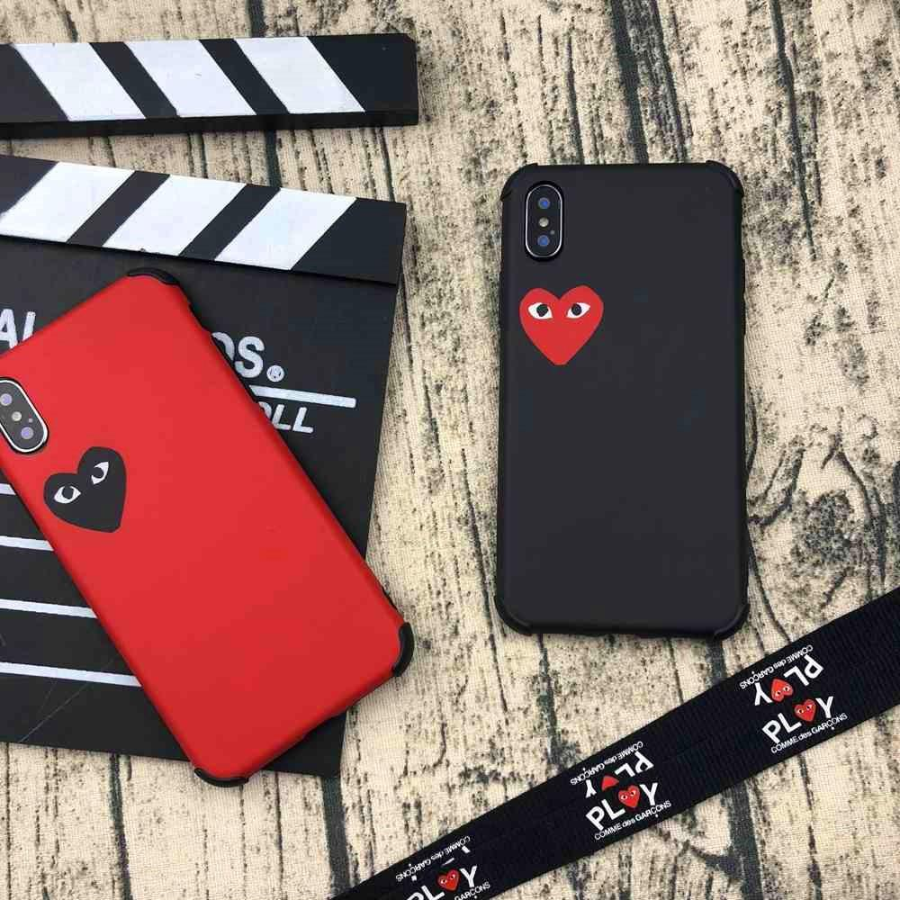 purchase cheap afee0 4422b Trendy PLAY CDG Comme des Garcons Style Heart Matte Silicone Designer  iPhone Case With Lanyard For iPhone X XS XS Max XR 7 8 Plus