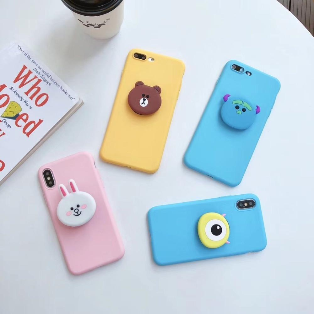 official photos fc0a3 5127a LINE Friends Style Matte 3D Pop Socket Kickstand Silicone Designer Cute  iPhone Case For iPhone X XS XS Max XR 7 8 Plus