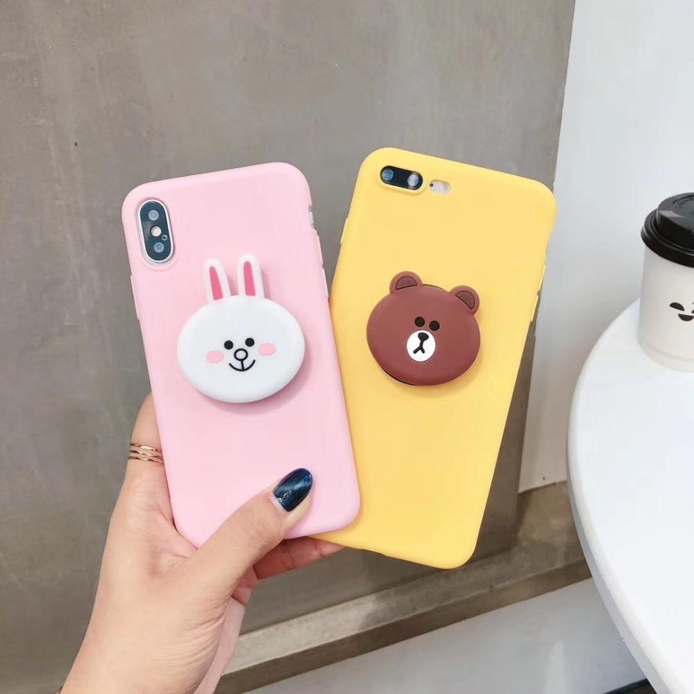 official photos a70e9 8a50d LINE Friends Style Matte 3D Pop Socket Kickstand Silicone Designer Cute  iPhone Case For iPhone X XS XS Max XR 7 8 Plus