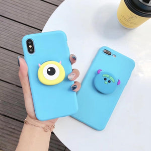 LINE Friends Style Matte 3D Pop Socket Kickstand Silicone Designer Cute iPhone Case For iPhone X XS XS Max XR 7 8 Plus - Casememe.com