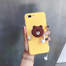 Load image into Gallery viewer, LINE Friends Style Matte 3D Pop Socket Kickstand Silicone Designer Cute iPhone Case For iPhone X XS XS Max XR 7 8 Plus - Casememe.com