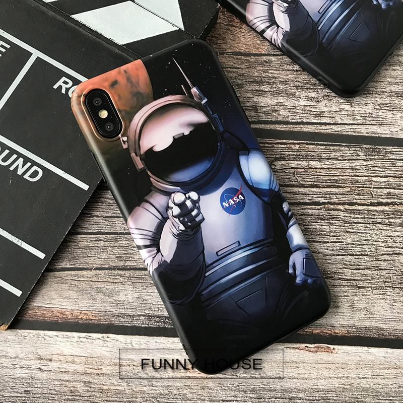 NASA Style USA Street Trendy Astronaut Space Matte Silicone Luxury Designer iPhone Case For iPhone X XS XS Max XR 7 8 Plus - Casememe.com