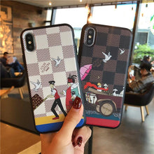 Load image into Gallery viewer, Luxury Damier Style Leather Vacation Stylish Silicone Designer iPhone Case For iPhone X XS XS Max XR 7 8 Plus - Casememe.com