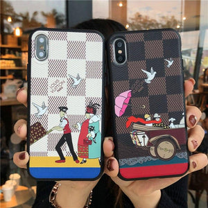 Luxury Damier Style Leather Vacation Stylish Silicone Designer iPhone Case For iPhone X XS XS Max XR 7 8 Plus - Casememe.com
