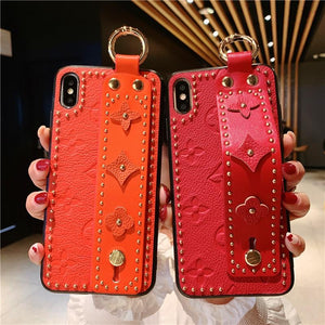Luxury Style Paris Leather Kickstand Ring Holder Designer iPhone Case With Hand Strap Wristband For iPhone X XS XS Max XR 7 8 Plus - Casememe.com